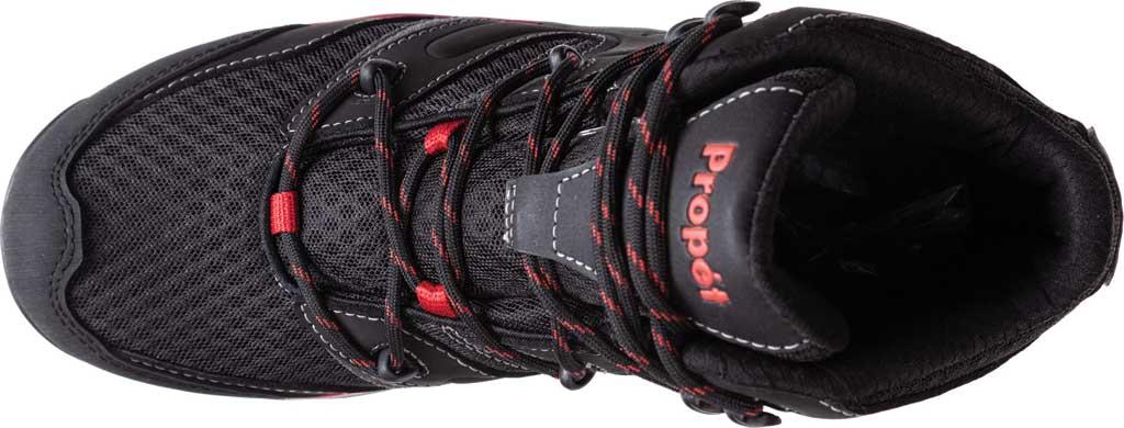 Men's Propet Veymont Waterproof Hiking Boot, Black/Red Nubuck/Mesh, large, image 4