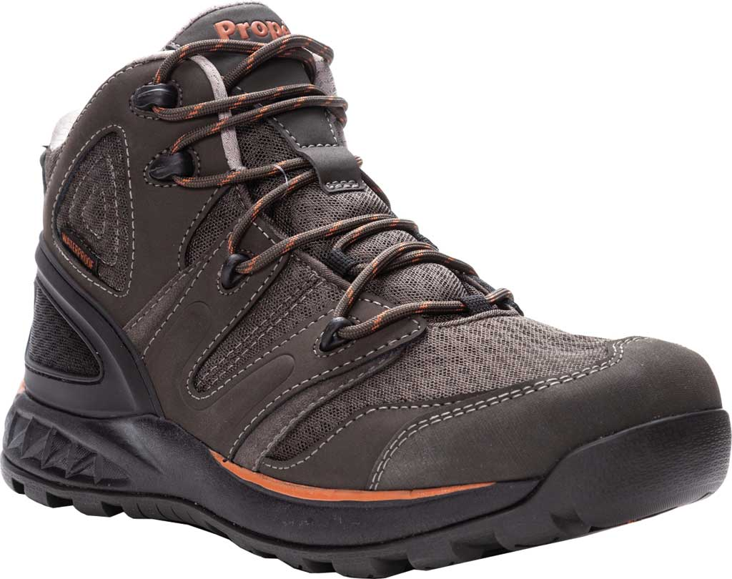 Men's Propet Veymont Waterproof Hiking Boot, Gunsmoke/Orange Nubuck/Mesh, large, image 1