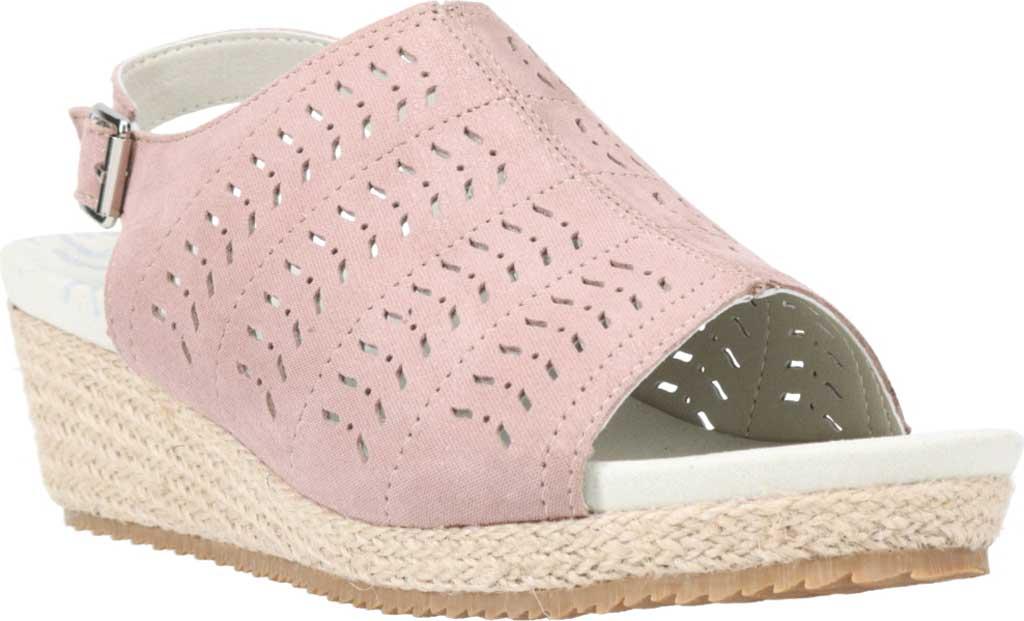 Women's Propet Marlo Espadrille Wedge Sandal, Pink Blush Sheepskin, large, image 1