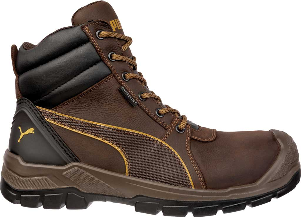 Men's PUMA Safety Shoes Tornado EH CTX Waterproof Mid Work Boot, Brown, large, image 1
