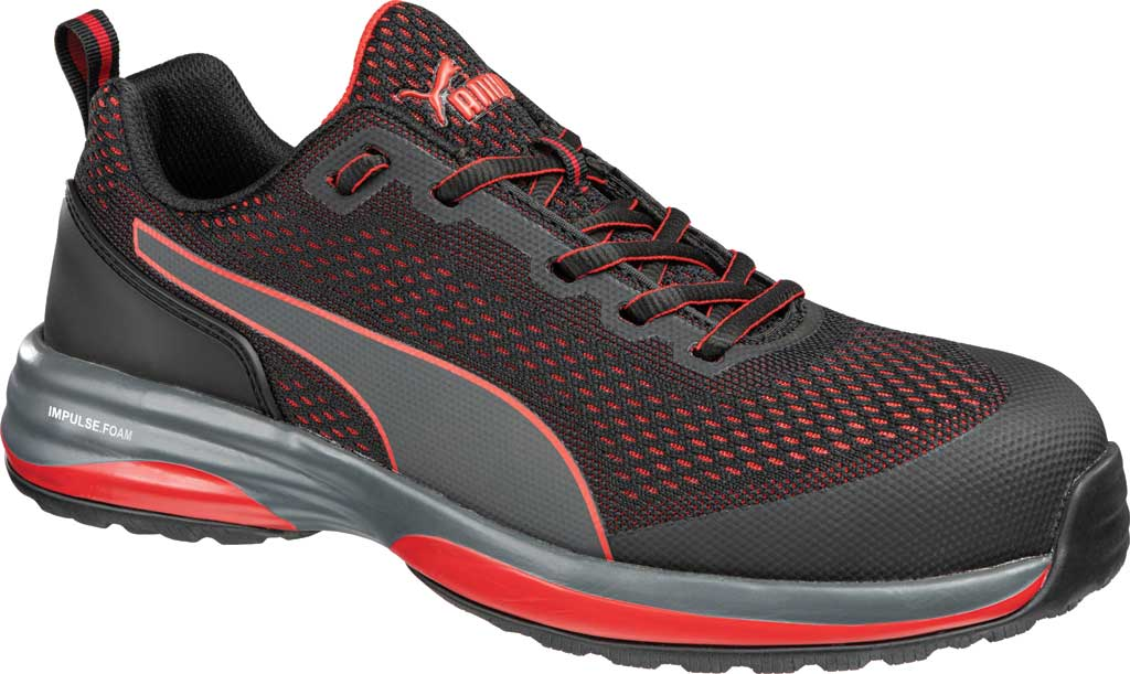 Men's PUMA Safety Shoes Speed Low EH Composite Toe Work Shoe, Black/Red Knit Mesh, large, image 1