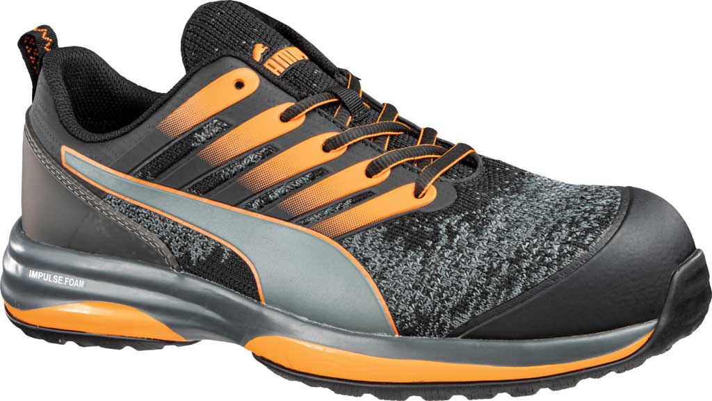 Men's PUMA Safety Shoes Charge Low EH Composite Toe Work Shoe, Black/Orange Knit Mesh, large, image 1