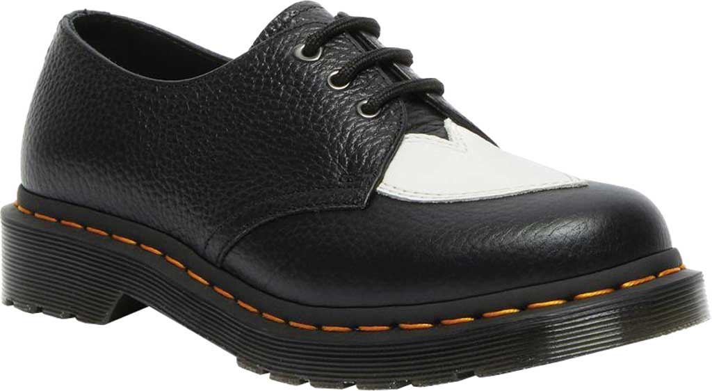 Women's Dr. Martens 1461 Amore 3-Eye Oxford, Black/White Milled Nappa Leather, large, image 1