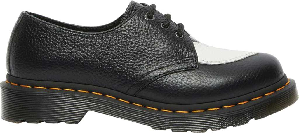 Women's Dr. Martens 1461 Amore 3-Eye Oxford, Black/White Milled Nappa Leather, large, image 2