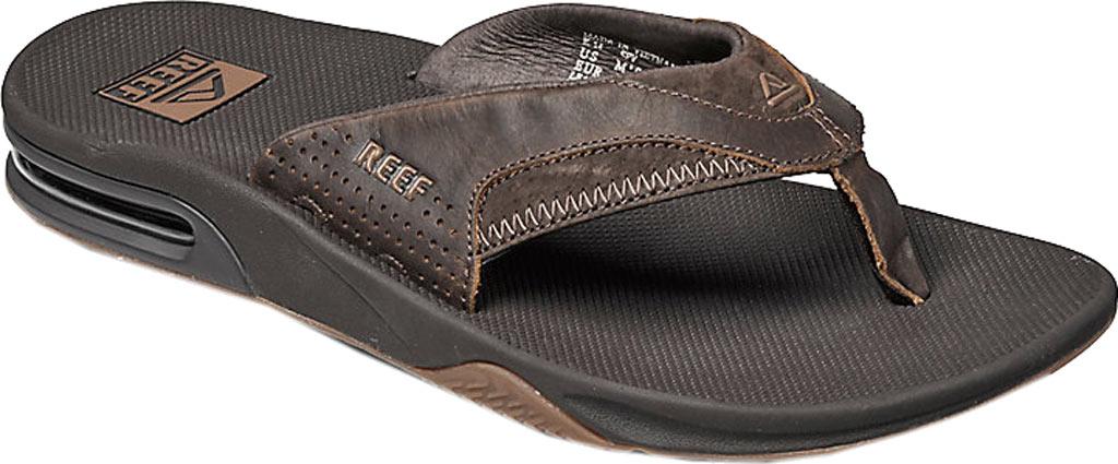 Men's Reef Fanning Leather Thong Sandal, Brown, large, image 1