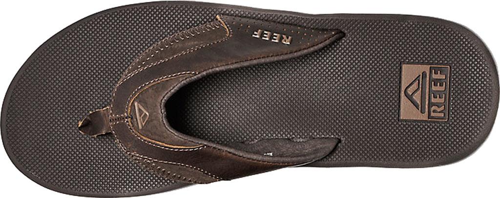Men's Reef Fanning Leather Thong Sandal, Brown, large, image 2