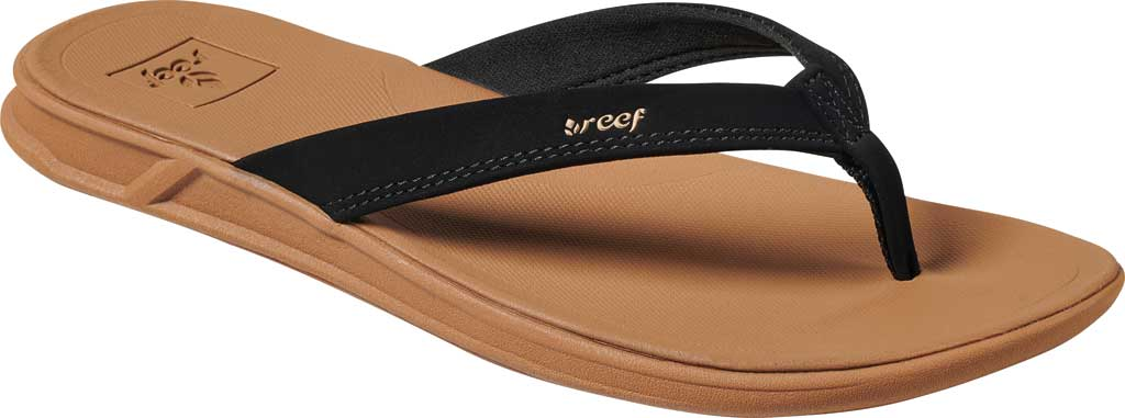 Women's Reef Rover Catch Thong Sandal, Black/Tan Synthetic, large, image 1