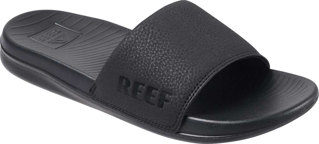 Women's Reef One Beach Slide, Black Synthetic, large, image 1