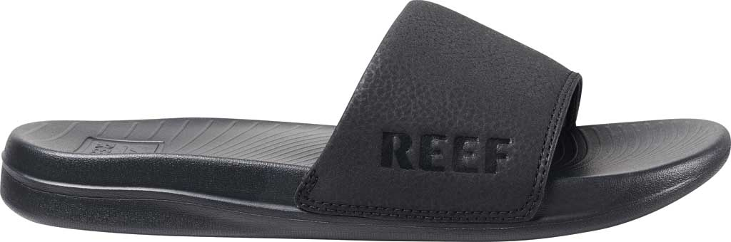 Women's Reef One Beach Slide, Black Synthetic, large, image 2