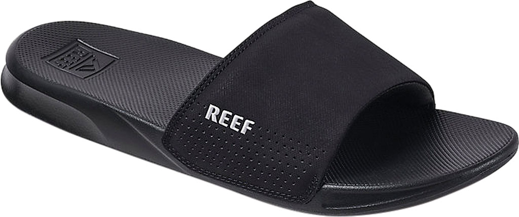 Men's Reef One Beach Slide, Black Synthetic, large, image 1