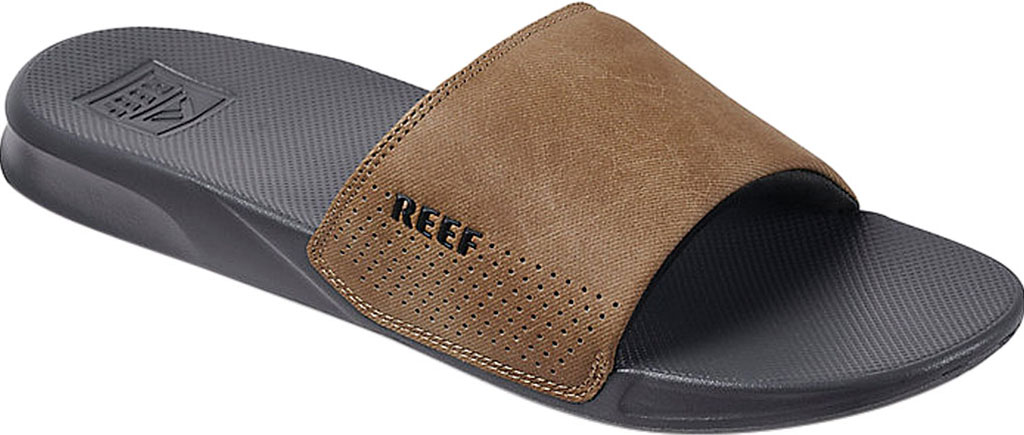 Men's Reef One Beach Slide, Grey/Tan Synthetic, large, image 1