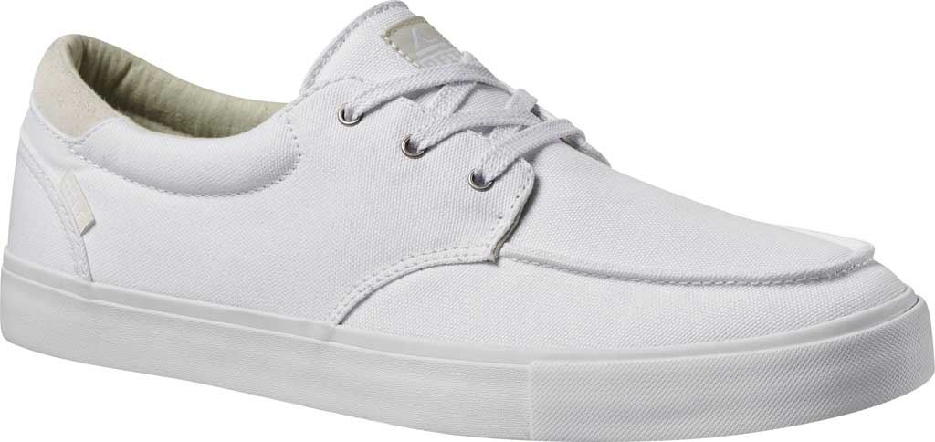 Men's Reef Deckhand 3 Sneaker, White/White Canvas/Suede Collar, large, image 1
