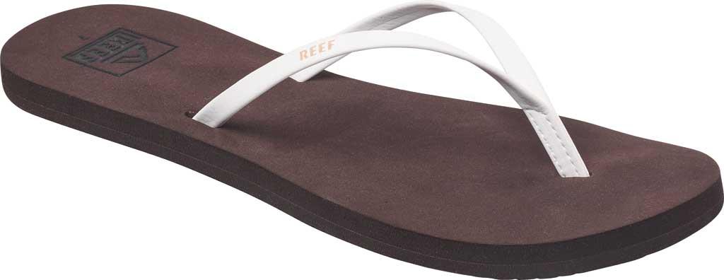 Women's Reef Bliss Nights Vegan Flip Flop, Brown/White Vegan Leather, large, image 1
