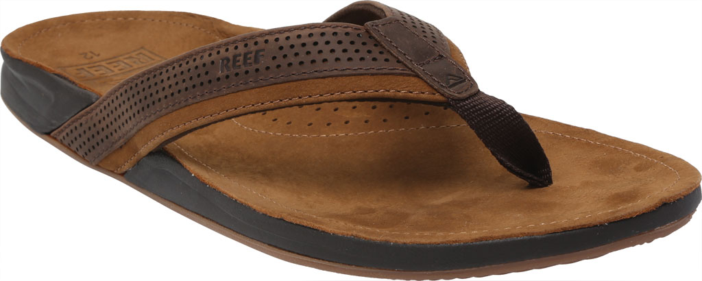 Men's Reef J-Bay Perf Waterproof Flip Flop, Java/Caramel Full Grain Leather, large, image 1