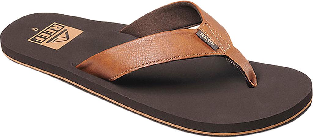 Men's Reef Twinpin Vegan Flip Flop, Brown Vegan Leather, large, image 1