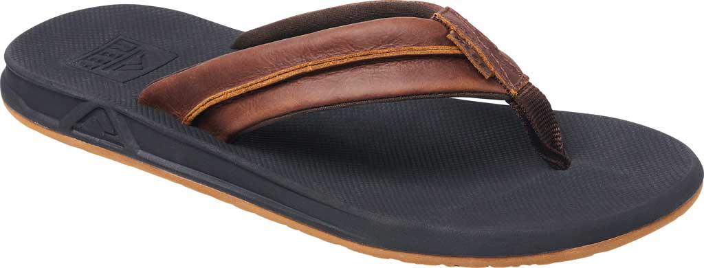 Men's Reef Leather Element TQT Flip Flop, Black/Brown Leather, large, image 1