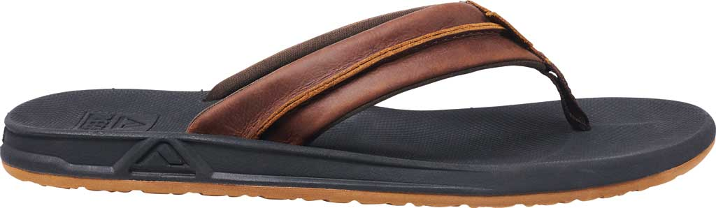 Men's Reef Leather Element TQT Flip Flop, Black/Brown Leather, large, image 2