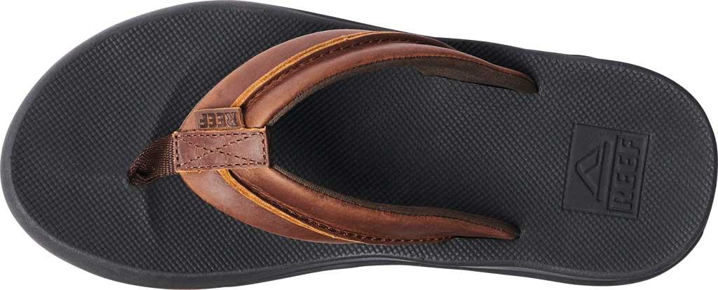 Men's Reef Leather Element TQT Flip Flop, Black/Brown Leather, large, image 3