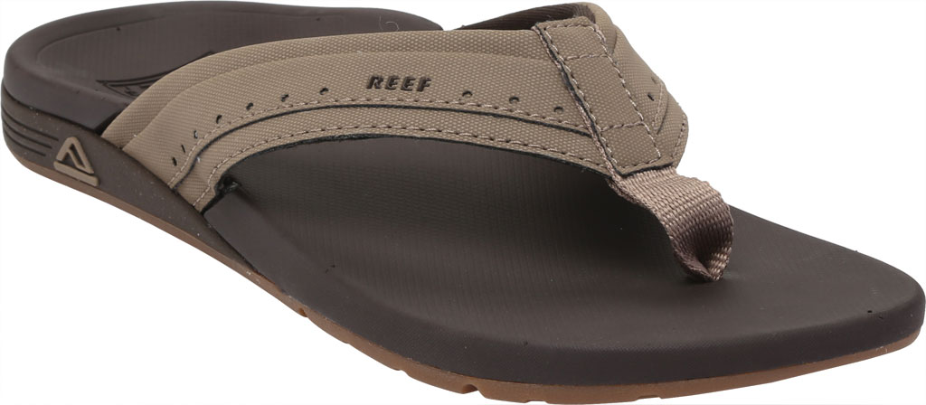 Men's Reef Ortho-Spring Mini Perf Flip Flop, Brown Recycled PET/Vegan Leather, large, image 1