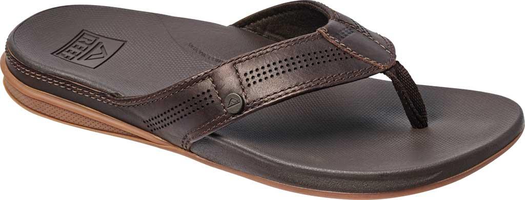 Men's Reef Cushion Lux Flip Flop, Brown Full Grain Leather, large, image 1