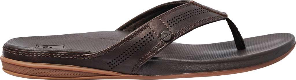 Men's Reef Cushion Lux Flip Flop, Brown Full Grain Leather, large, image 2