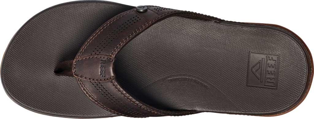 Men's Reef Cushion Lux Flip Flop, Brown Full Grain Leather, large, image 3