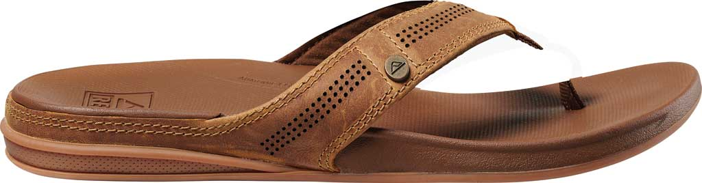 Men's Reef Cushion Lux Flip Flop, Toffee Full Grain Leather, large, image 2