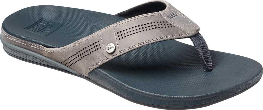 Men's Reef Cushion Lux Flip Flop, Grey Full Grain Leather, large, image 1