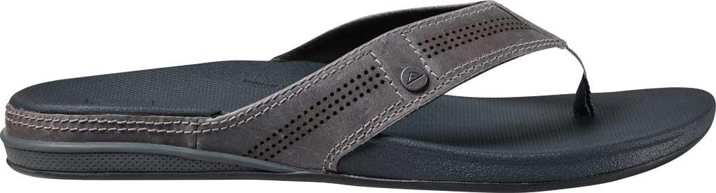 Men's Reef Cushion Lux Flip Flop, Grey Full Grain Leather, large, image 2