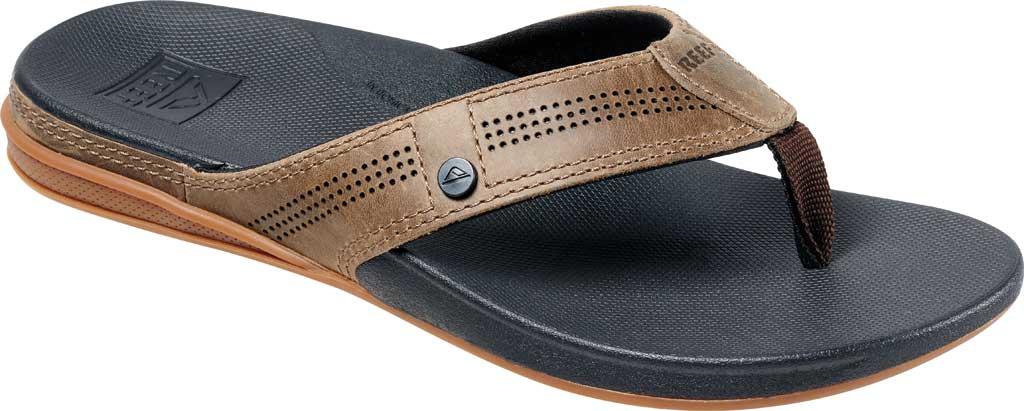 Men's Reef Cushion Lux Flip Flop, Tan/Black Full Grain Leather, large, image 1
