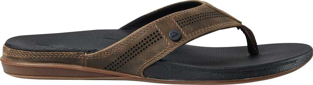 Men's Reef Cushion Lux Flip Flop, Tan/Black Full Grain Leather, large, image 2