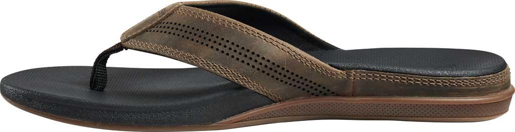 Men's Reef Cushion Lux Flip Flop, Tan/Black Full Grain Leather, large, image 3