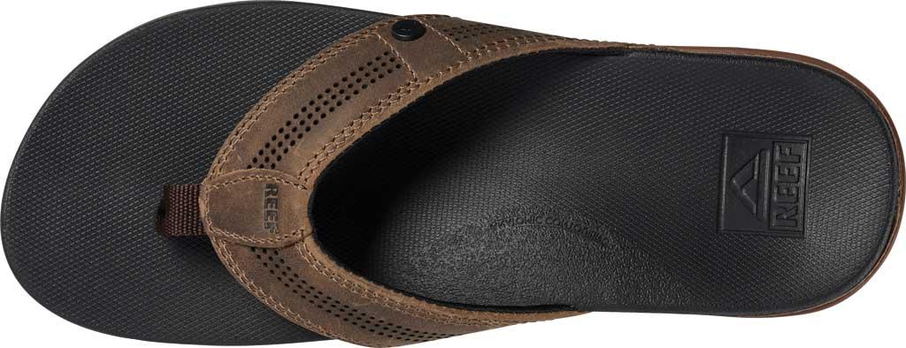 Men's Reef Cushion Lux Flip Flop, Tan/Black Full Grain Leather, large, image 4