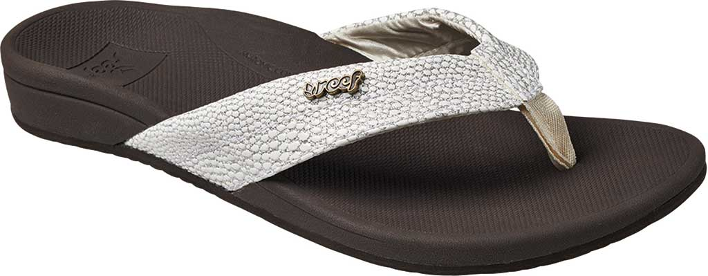 Women's Reef Ortho-Spring Flip Flop, Brown/White Recycled PET/Vegan Leather, large, image 1