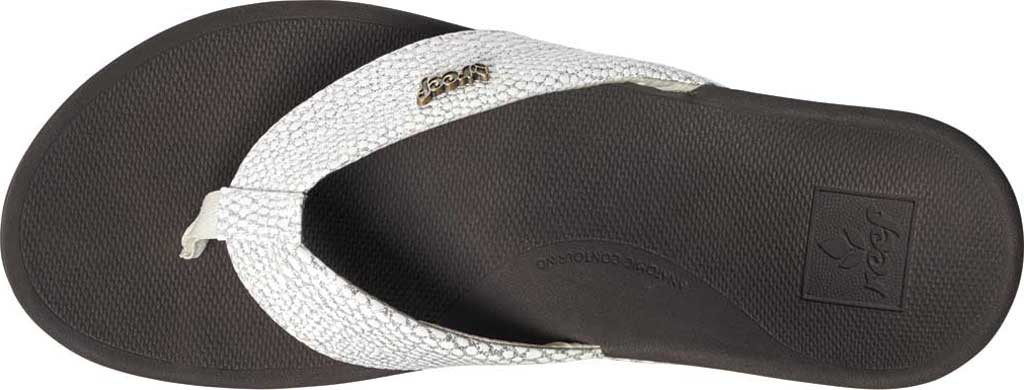Women's Reef Ortho-Spring Flip Flop, Brown/White Recycled PET/Vegan Leather, large, image 2