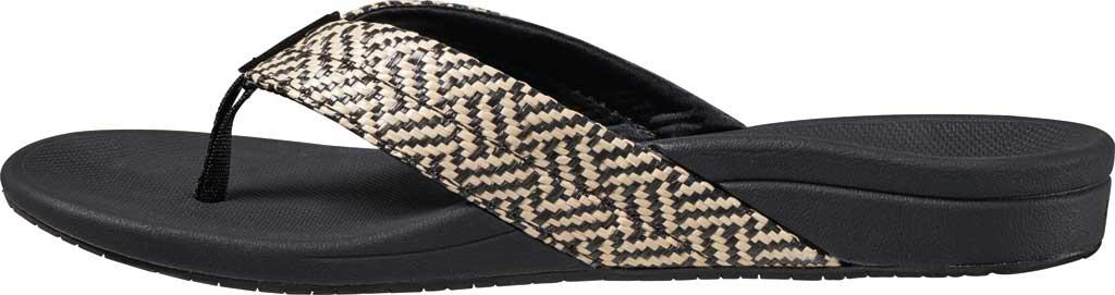Women's Reef Ortho-Spring Flip Flop, Black/Vintage Synthetic, large, image 3