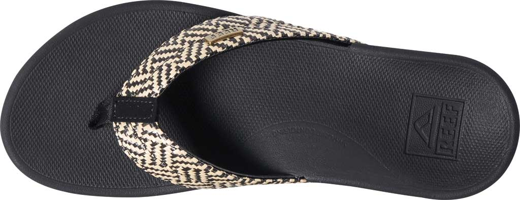 Women's Reef Ortho-Spring Flip Flop, Black/Vintage Synthetic, large, image 4