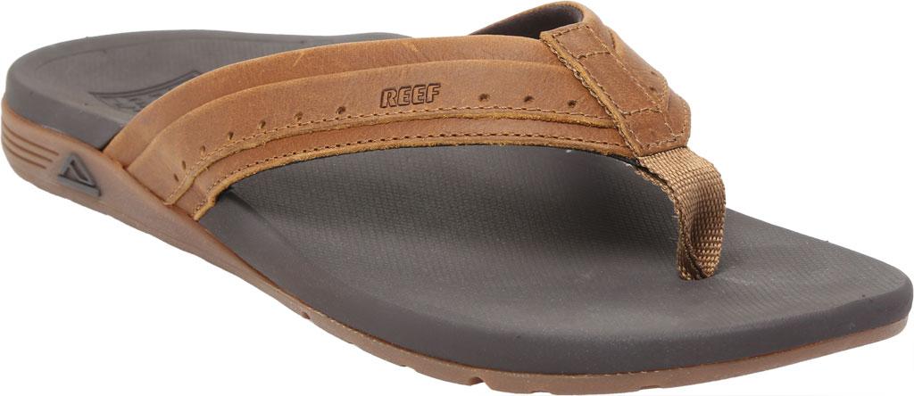 Men's Reef Leather Ortho-Spring Flip Flop, Brown Leather, large, image 1