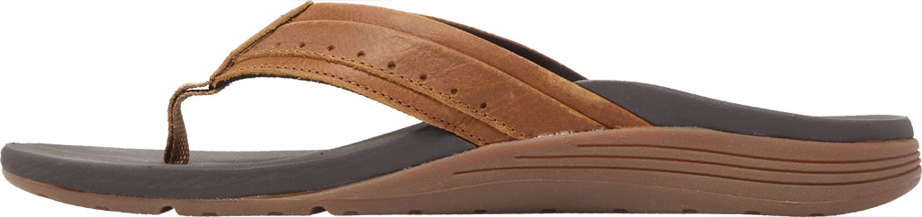 Men's Reef Leather Ortho-Spring Flip Flop, Brown Leather, large, image 3