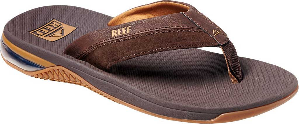 Men's Reef Anchor LE Flip Flop, Brown Vegan Leather, large, image 1