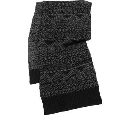 Men's MUK LUKS Pattern Scarf, Black, large, image 1