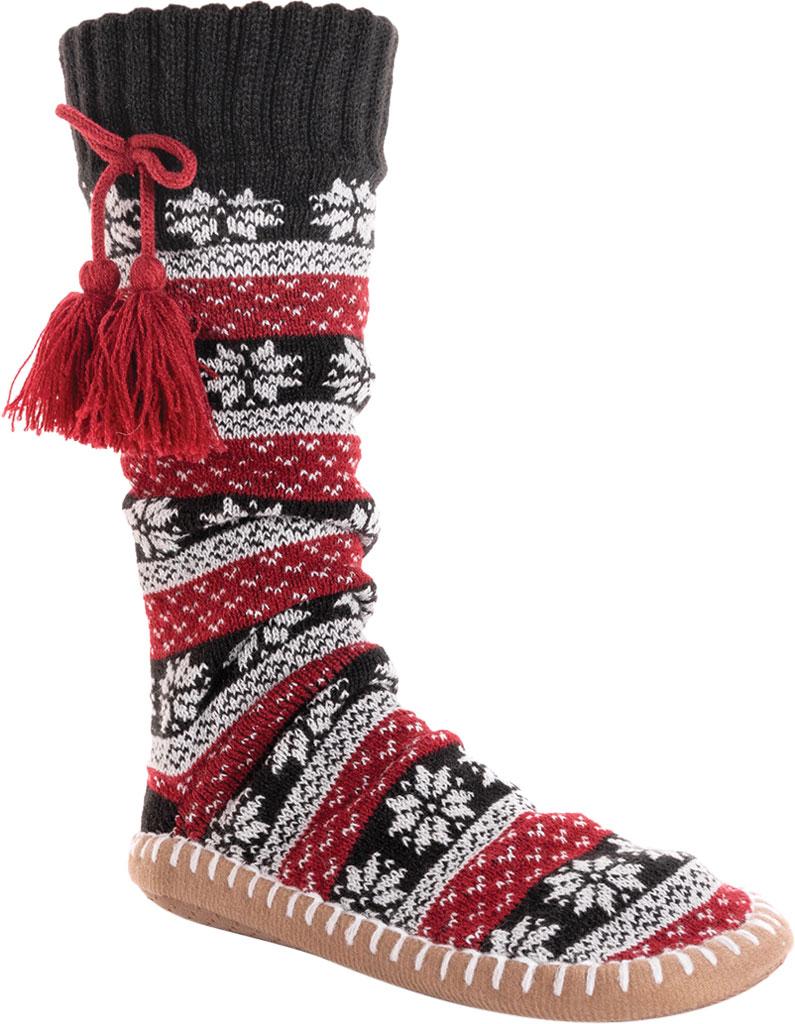 Women's MUK LUKS Slipper Sock with Tassel, Ebony/Candy Apple Acrylic Knit, large, image 1