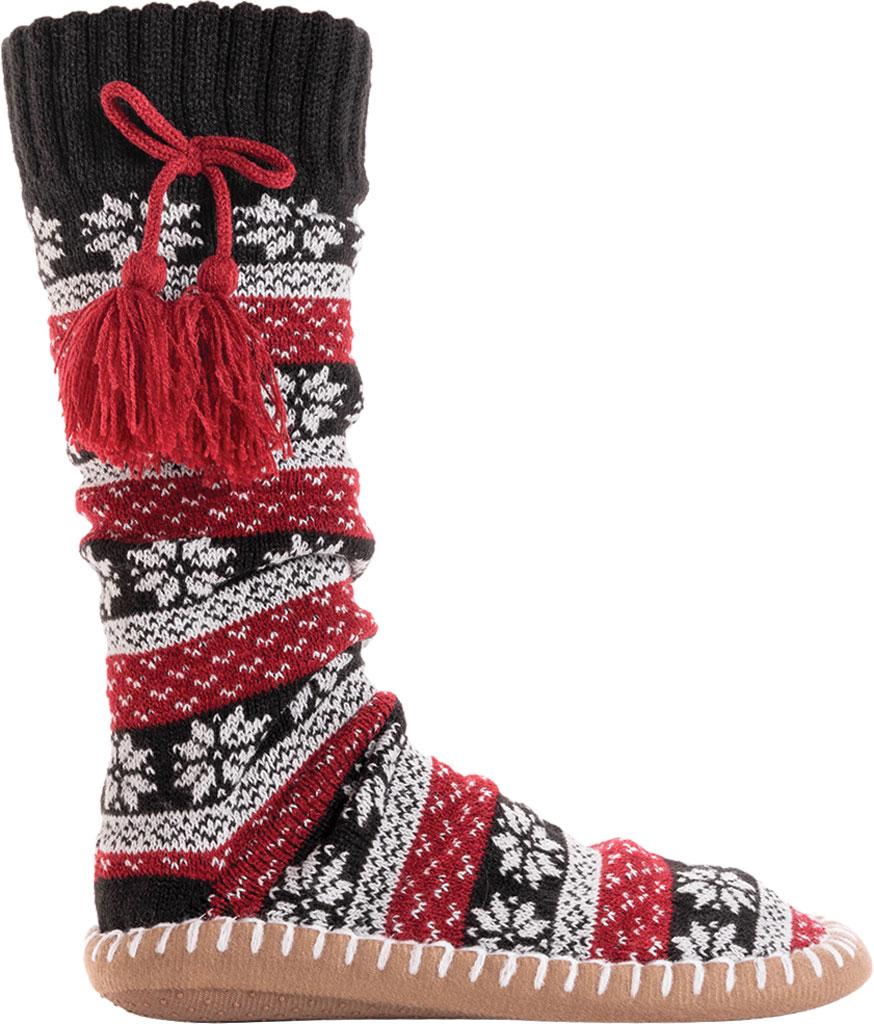 Women's MUK LUKS Slipper Sock with Tassel, Ebony/Candy Apple Acrylic Knit, large, image 2