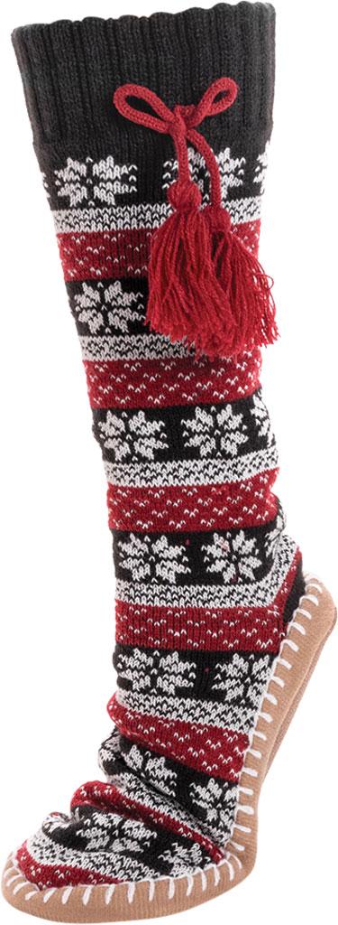 Women's MUK LUKS Slipper Sock with Tassel, Ebony/Candy Apple Acrylic Knit, large, image 3