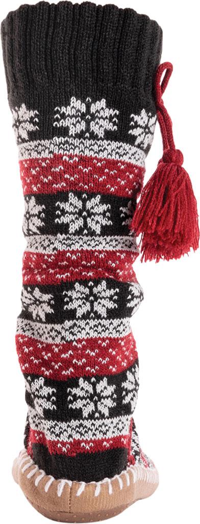 Women's MUK LUKS Slipper Sock with Tassel, Ebony/Candy Apple Acrylic Knit, large, image 4