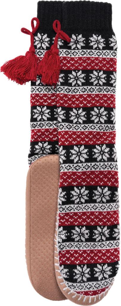 Women's MUK LUKS Slipper Sock with Tassel, Ebony/Candy Apple Acrylic Knit, large, image 5