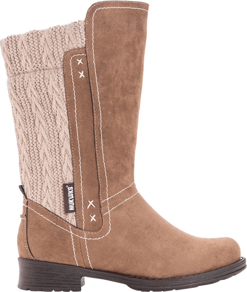 Women's MUK LUKS Casey Mid Calf Boot, Grey Polyester, large, image 2
