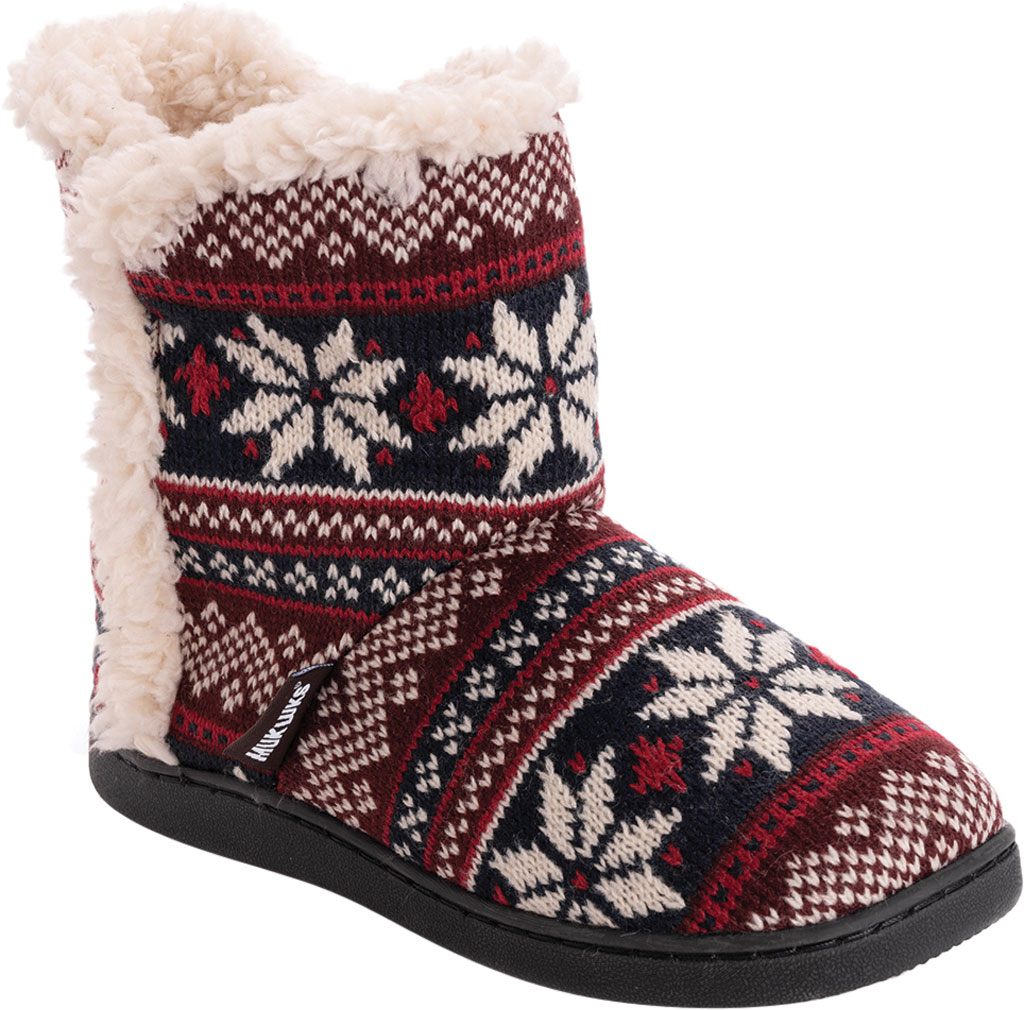 Women's MUK LUKS Cheyenne Bootie Slipper, Candy Apple Acrylic Knit, large, image 1