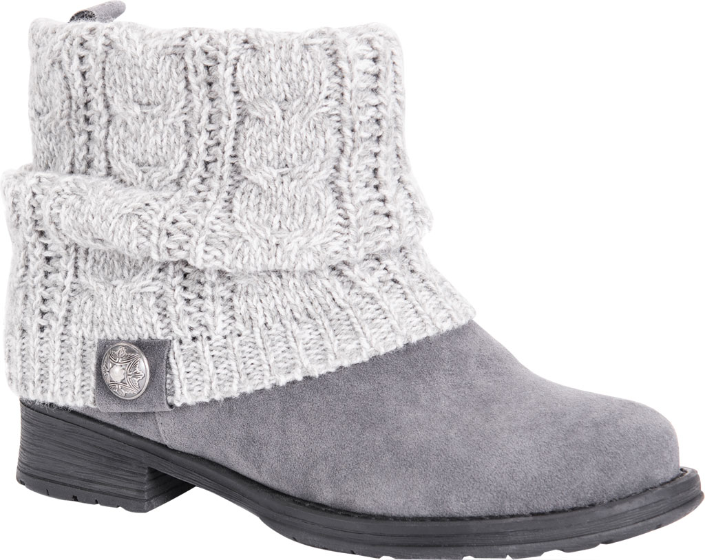 Women's MUK LUKS Pattrice Ankle Boot, Grey Heather Polyester/Faux Suede, large, image 1