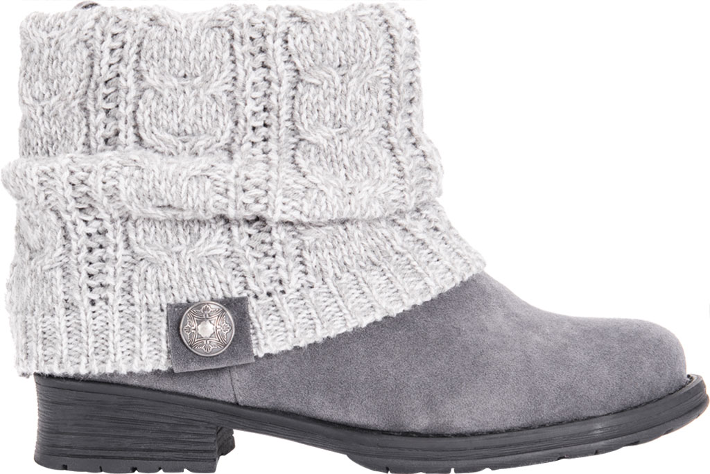 Women's MUK LUKS Pattrice Ankle Boot, Grey Heather Polyester/Faux Suede, large, image 2